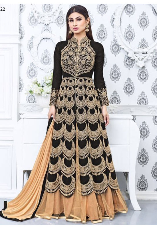Mouni Roy Black Lehenga Anarkali Salwar Suit