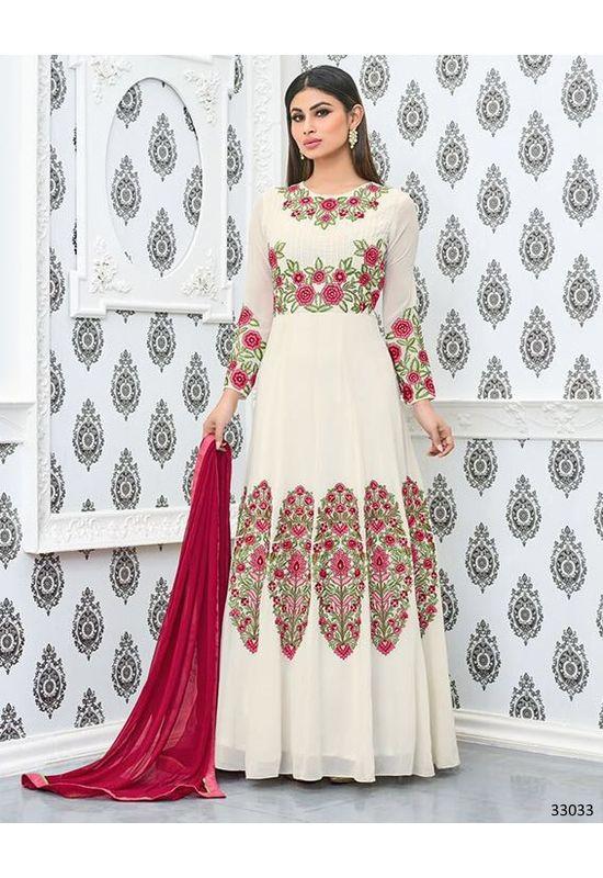 Mouni Roy White  Long Anarkali Salwar Suit with Resham Thread Work