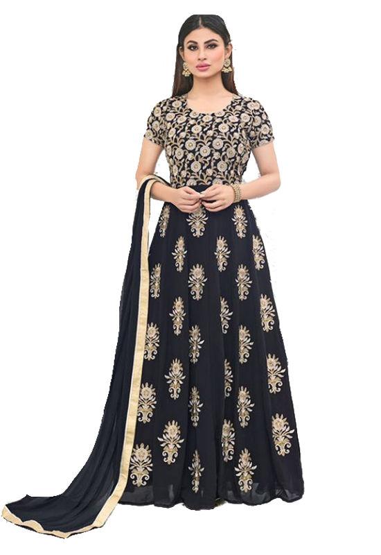 Mouni Roy Black Embroidered  Long  Anarkali Salwar Suit