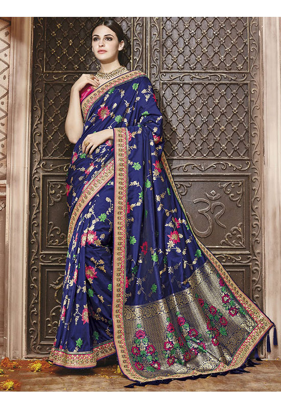 Navy Blue Kanjeevaram silk saree with embroidery