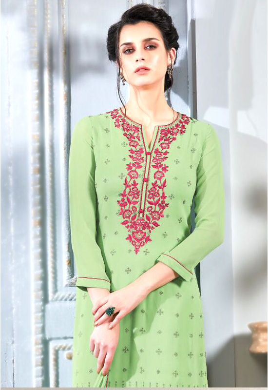 Embroidered Georgette Straight Salwar Suit_105