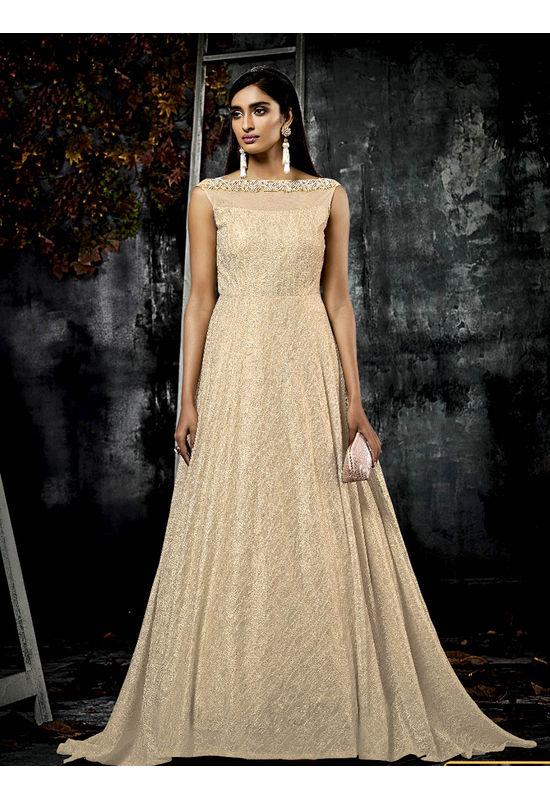 Designer Nude Beige Falling Gown