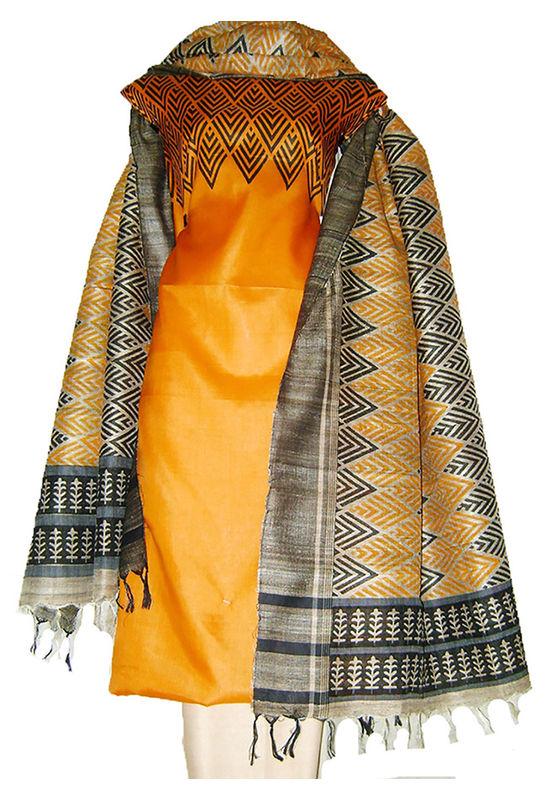 Block Printed Jute Tussar Dress Material in Orange _24