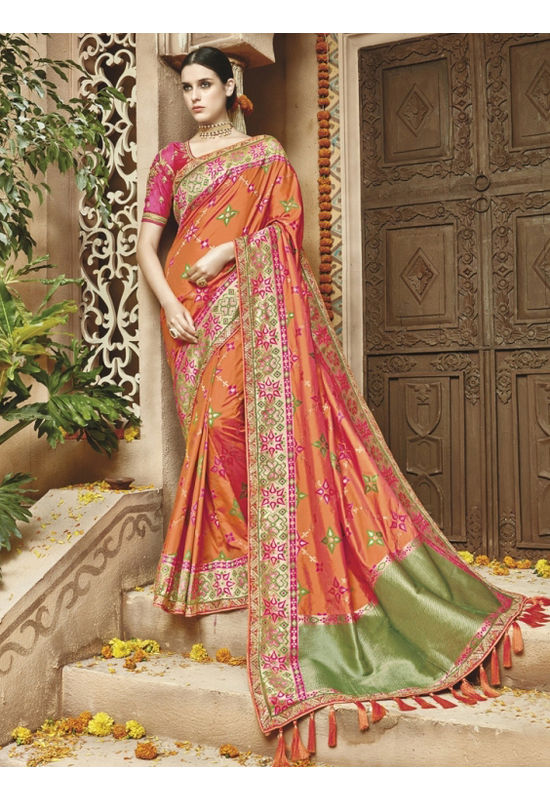 Orange Pink  Kanjeevaram silk saree