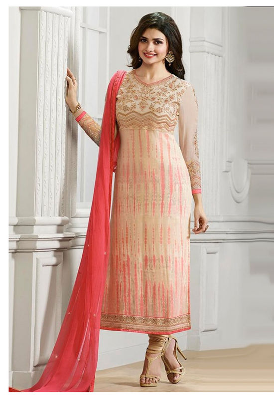 Prachi Desai Shaded Peach Pink Straight Suit