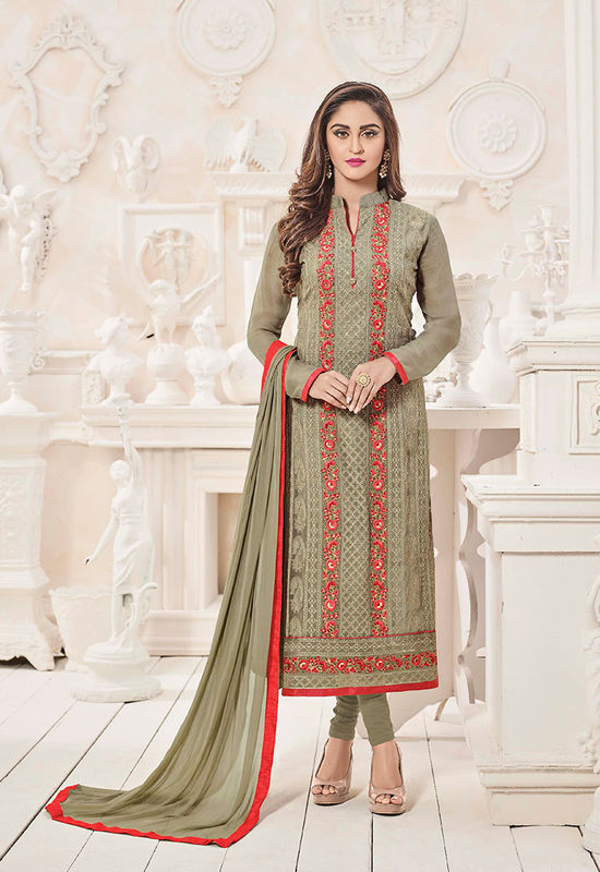 Brown Embroidered Georgette Salwar Kameez