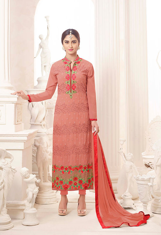 Pink Color Embroidered Georgette Salwar Kameez