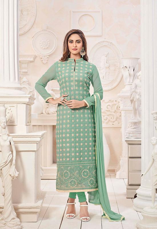 Green Color Embroidered Georgette Salwar Kameez