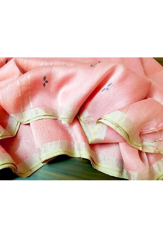 Linen Silk Saree with  Jamdani work  in  Pink