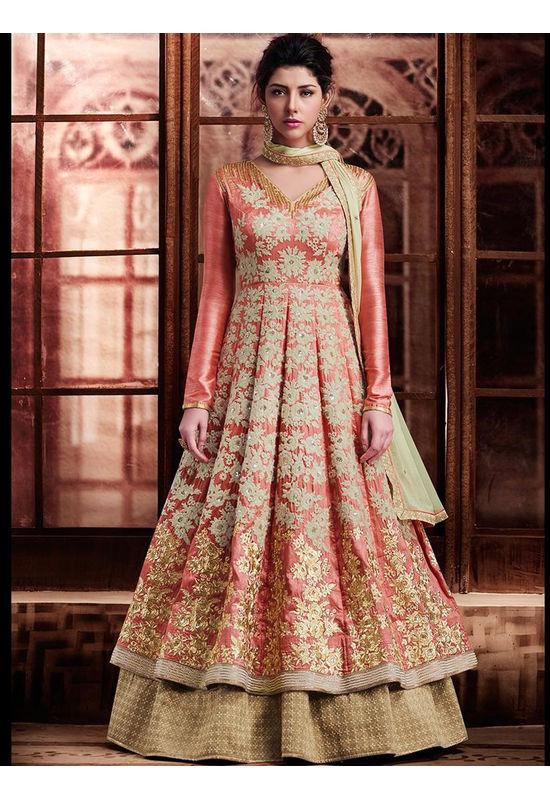Gharara Style anarkali Lehenga In Peachish Pink Silk Fabric with Beautiful Embroidery