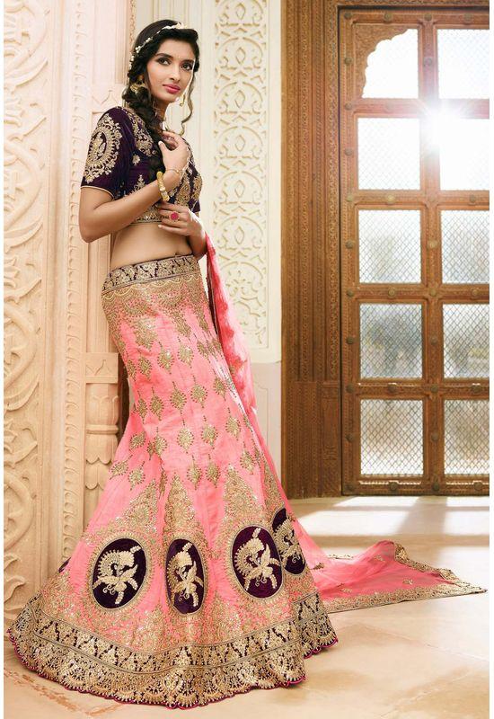 Pink and Purple   Raw Silk Heavy  Wedding Lehenga Choli