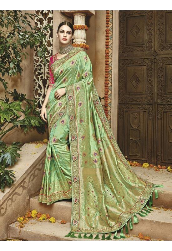 Pista Green Kanjeevaram Silk saree