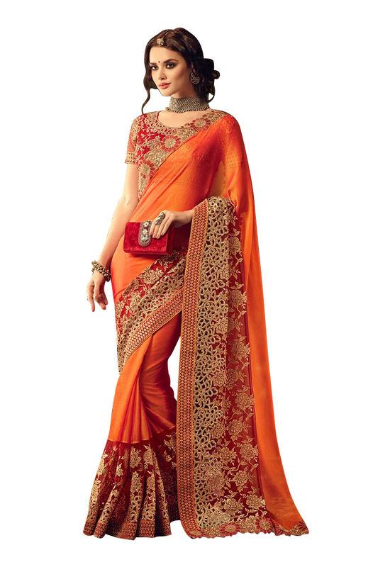 Orange Red Georgette Party Wear Designer Saree with Cut Work