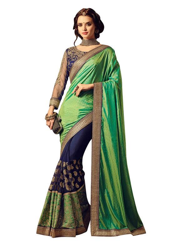 Embroidered Blue Green Half n Half Wedding Saree