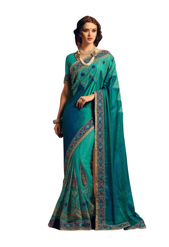 Beautiful Green Designer Party Wear Saree