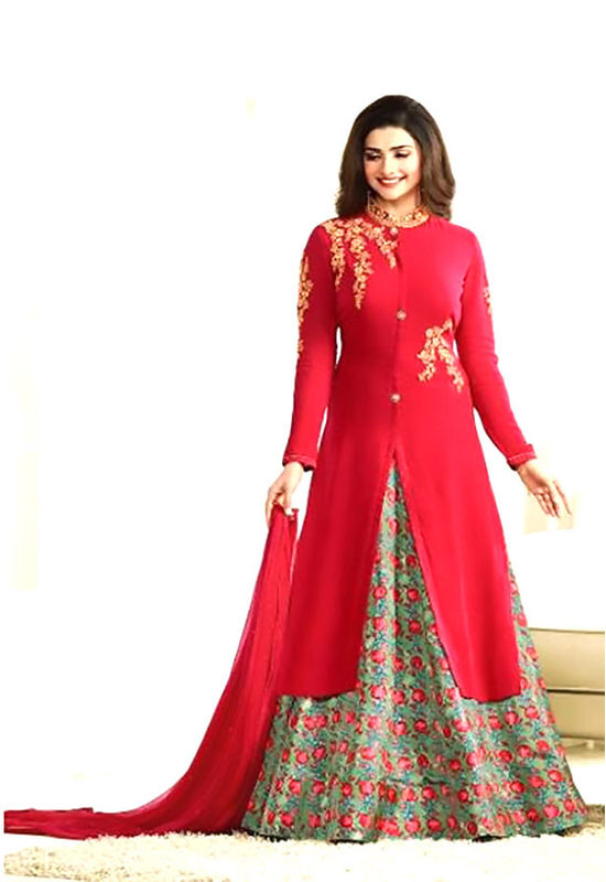 Floral Printed Red Anarkali Suit with Embroidered Yoke