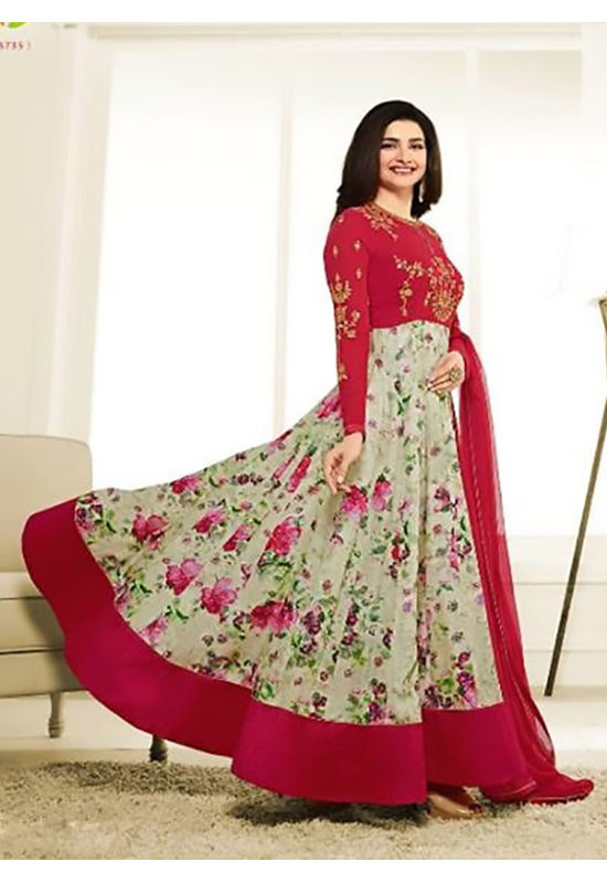 Floral Printed Red Anarkali Suit with Embroidered Yoke 1