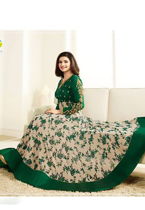 Floral Printed Dark Blue Anarkali Suit with Embroidered Yoke