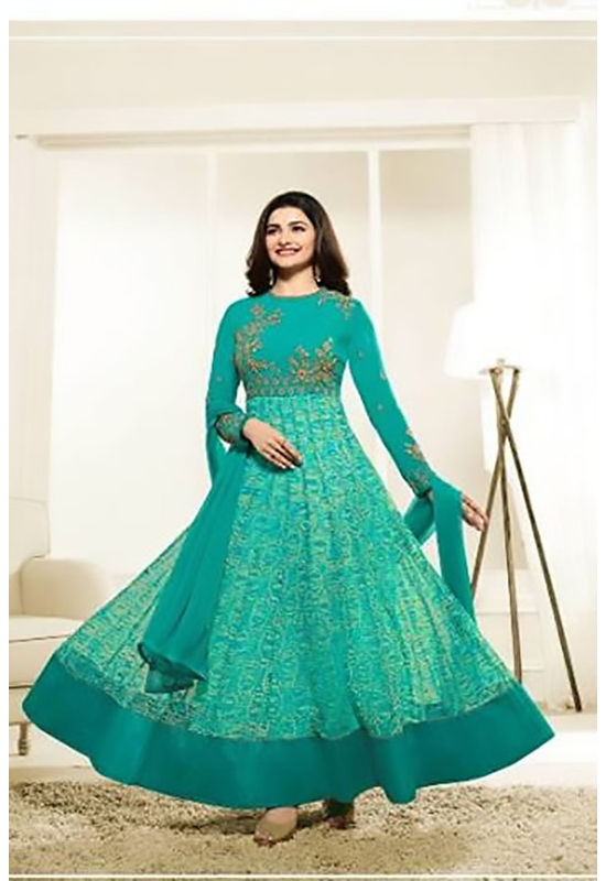 Floral Printed Green Anarkali Suit with Embroidered Yoke