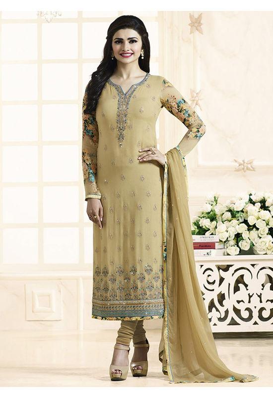 Prachi Desai beige georgette straight suit 702