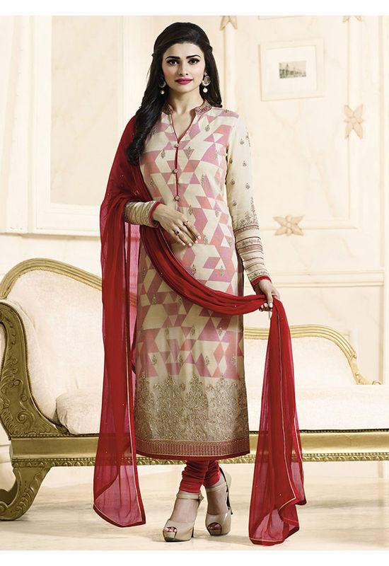 Prachi Desai cream georgette straight suit 705