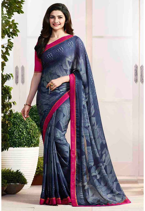 Prachi Desai in Printed Satin Saree_17972