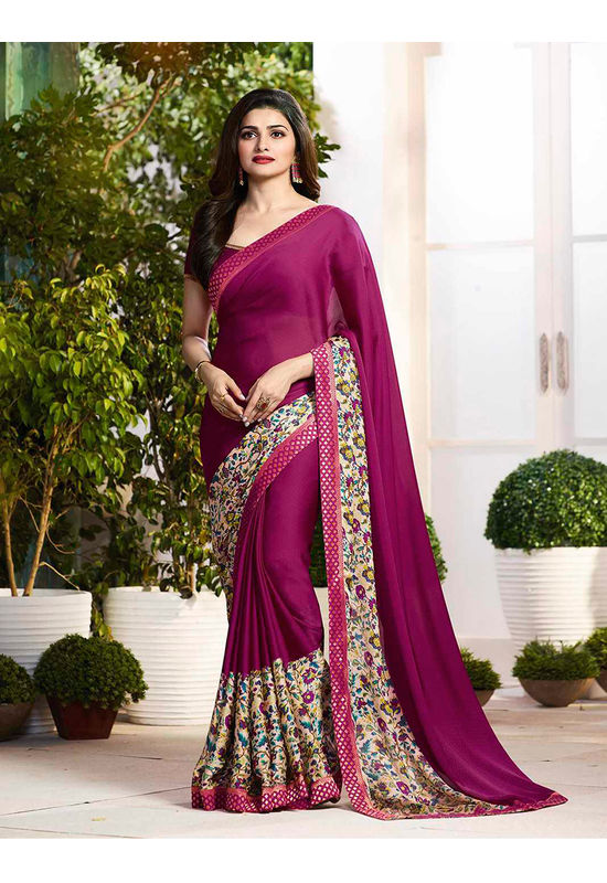 Prachi Desai in Printed Satin Saree_17977