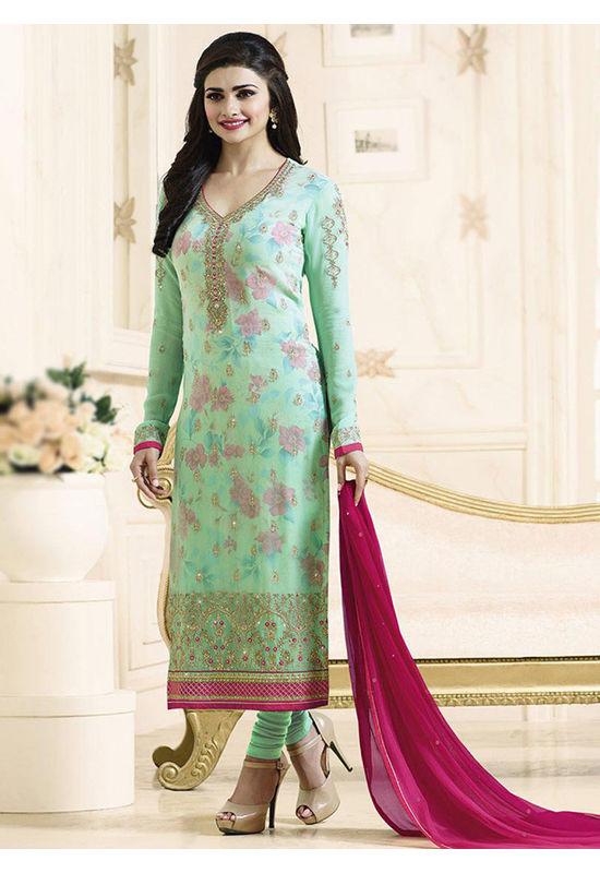 Prachi Desai mint green straight suit 703