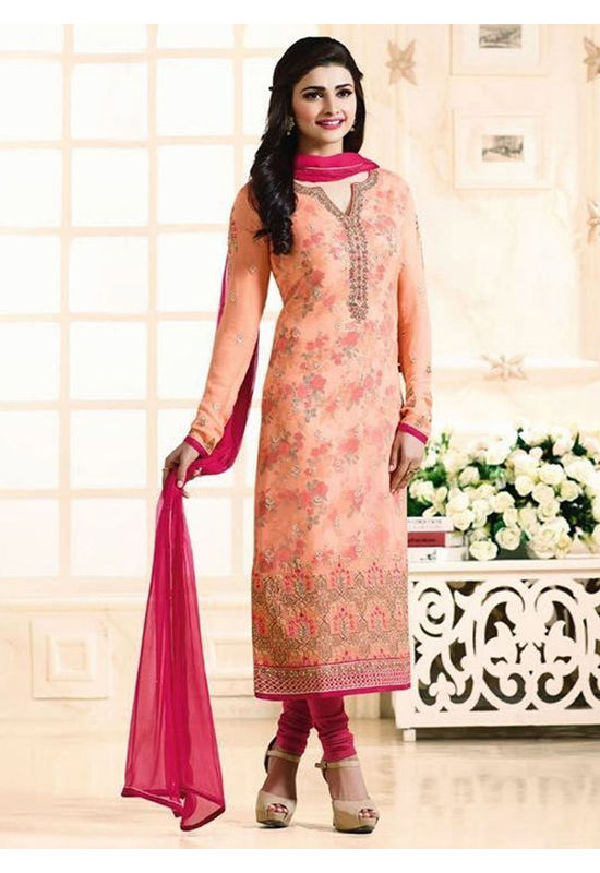 Prachi Desai Peach georgette straight suit 704