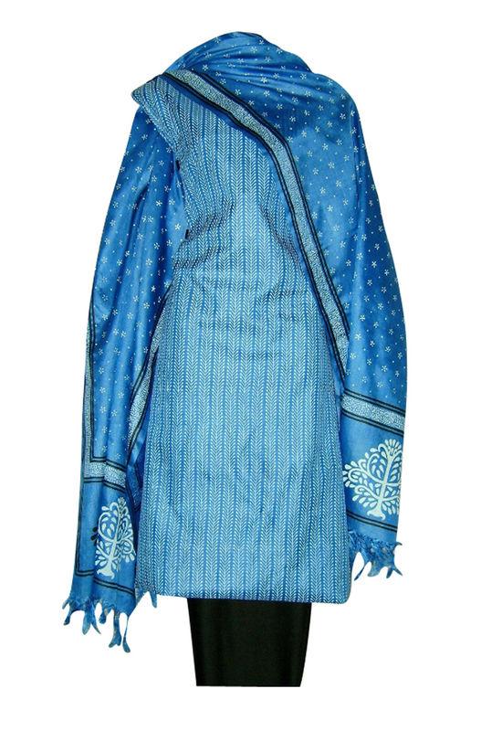 Printed Tussar Silk Suit Material Blue12