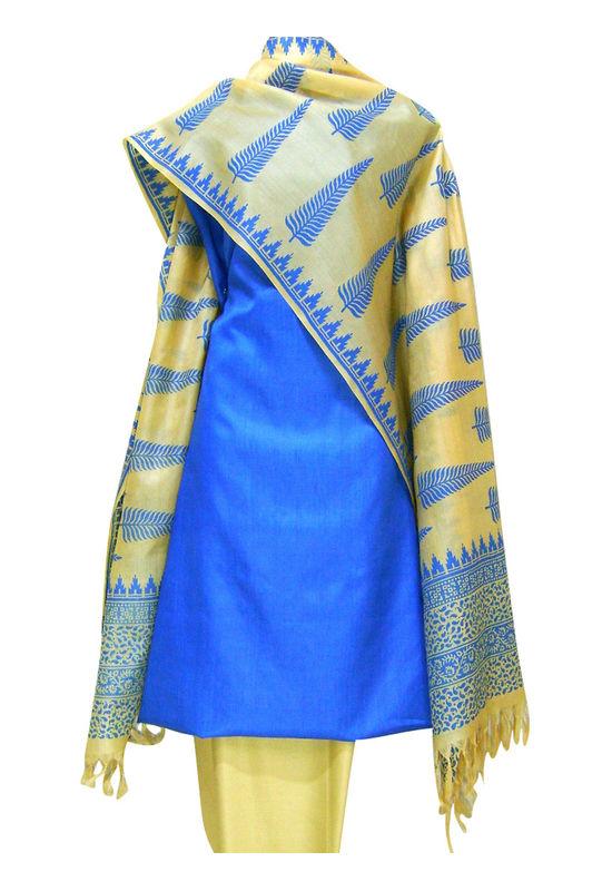 Printed Tussar Silk Suit Material Blue14