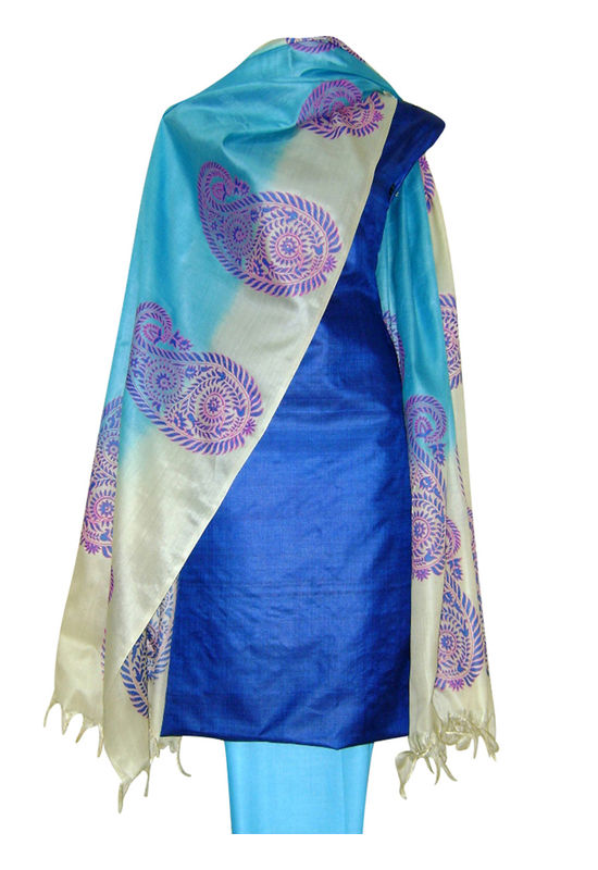 Printed Tussar Silk Suit Material Blue15