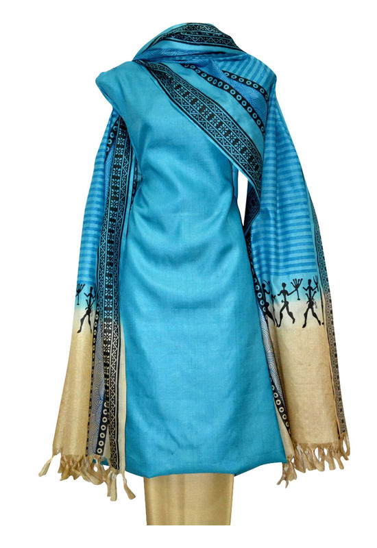 Printed Tussar Silk Suit Material Blue18