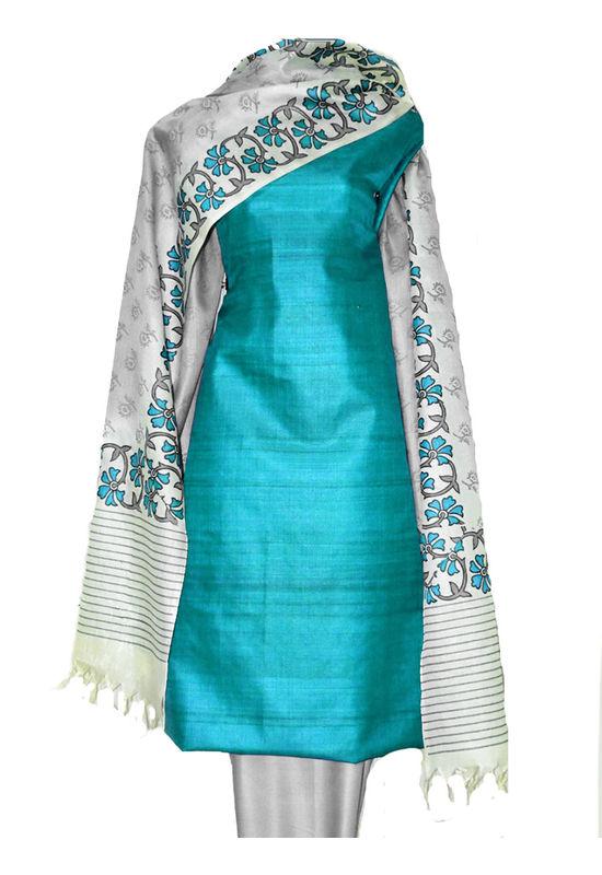 Printed Tussar Silk Suit Material Blue19