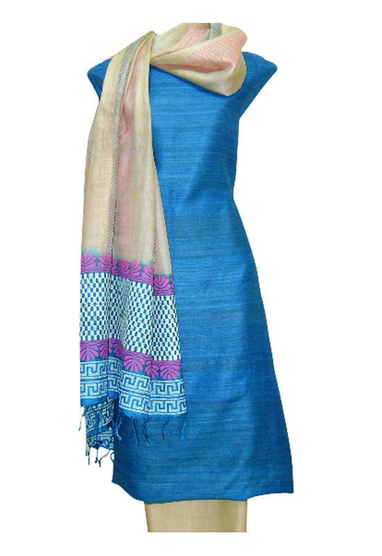 Printed Tussar Silk Suit Material Blue2
