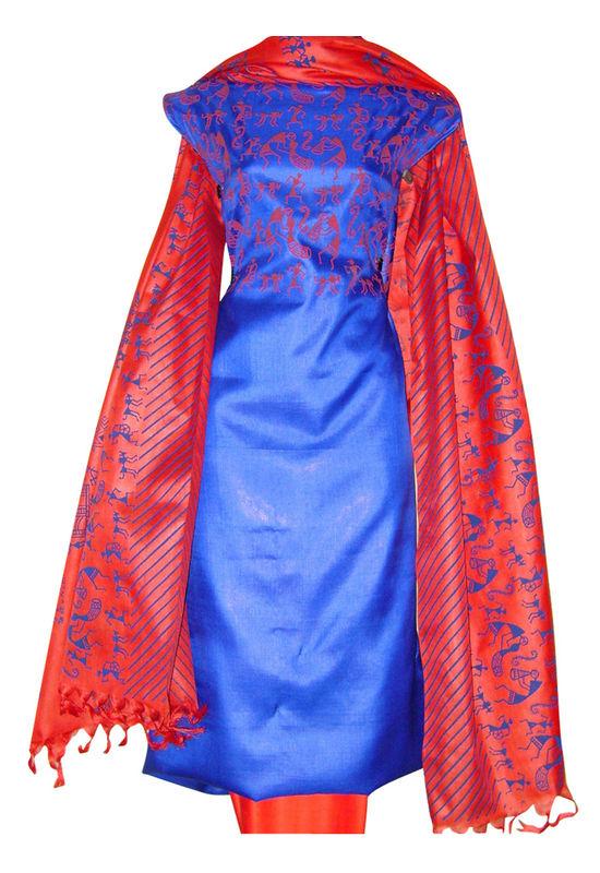 Printed Tussar Silk Suit Material Blue20