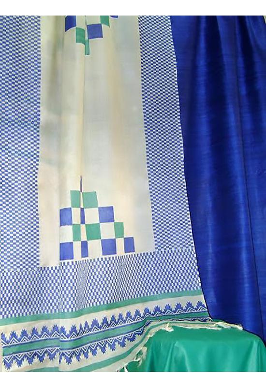 Printed Tussar Silk Suit Material Blue21