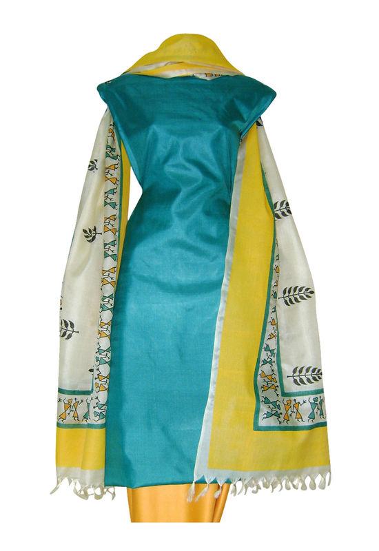 Printed Tussar Silk Suit Material Blue23