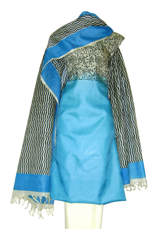 Printed Tussar Silk Suit Material Blue24