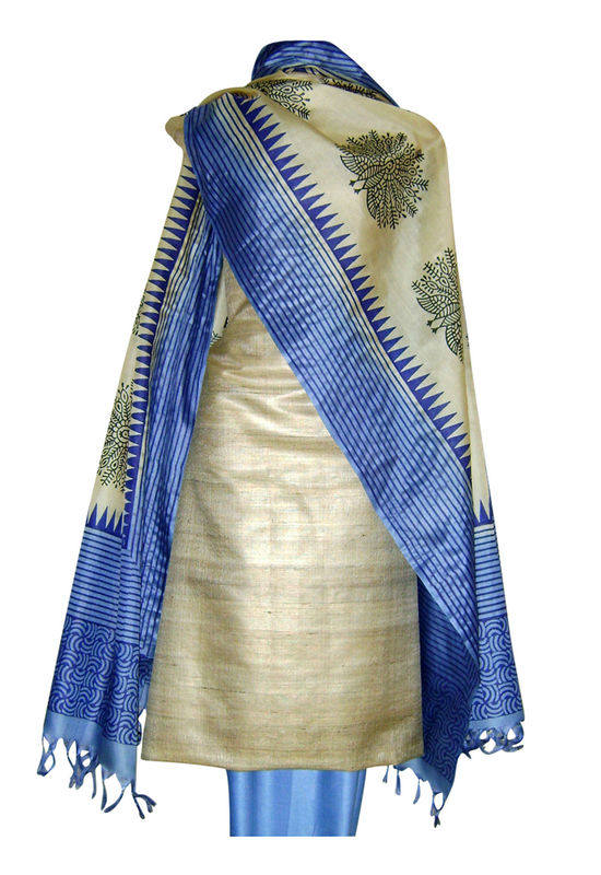 Printed Tussar Silk Suit Material Blue26