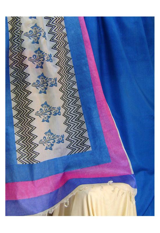 Printed Tussar Silk Suit Material Blue27