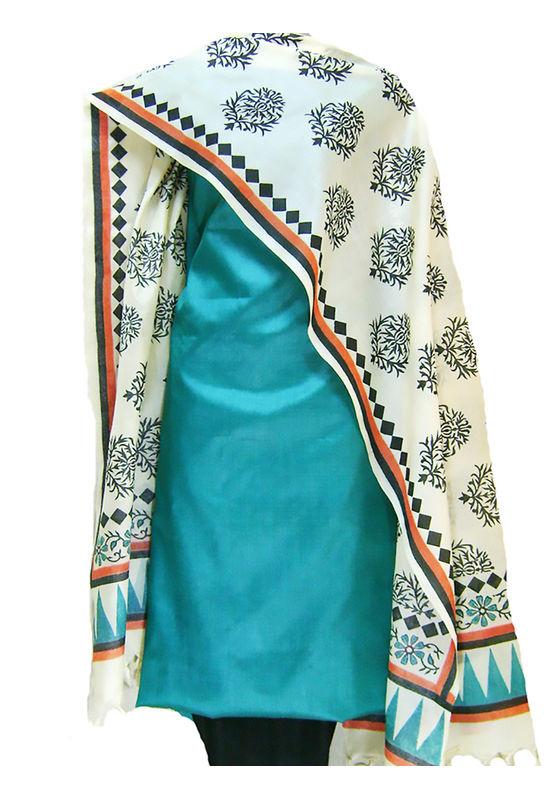 Printed Tussar Silk Suit Material Blue28