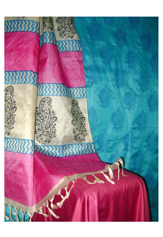 Printed Tussar Silk Suit Material Blue29