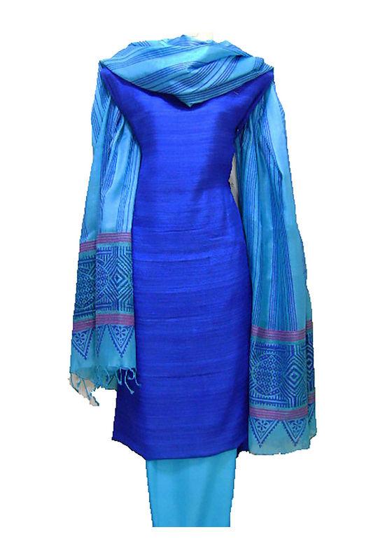Printed Tussar Silk Suit Material Blue3