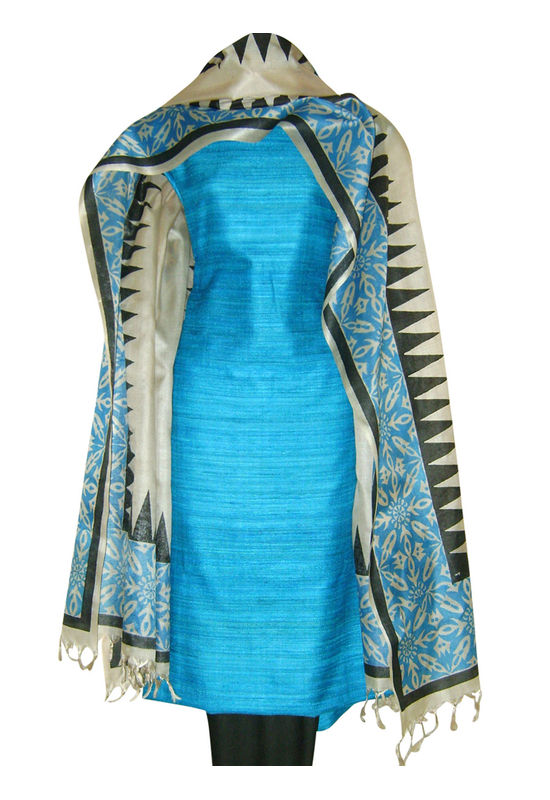 Printed Tussar Silk Suit Material Blue30