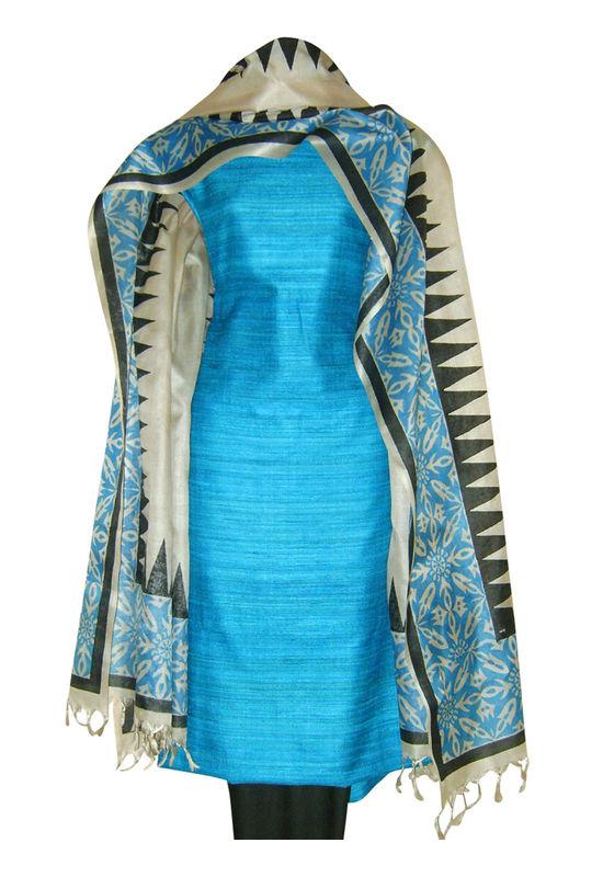 Printed Tussar Silk Suit Material Blue31