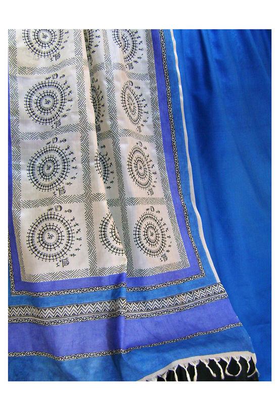 Printed Tussar Silk Suit Material Blue33
