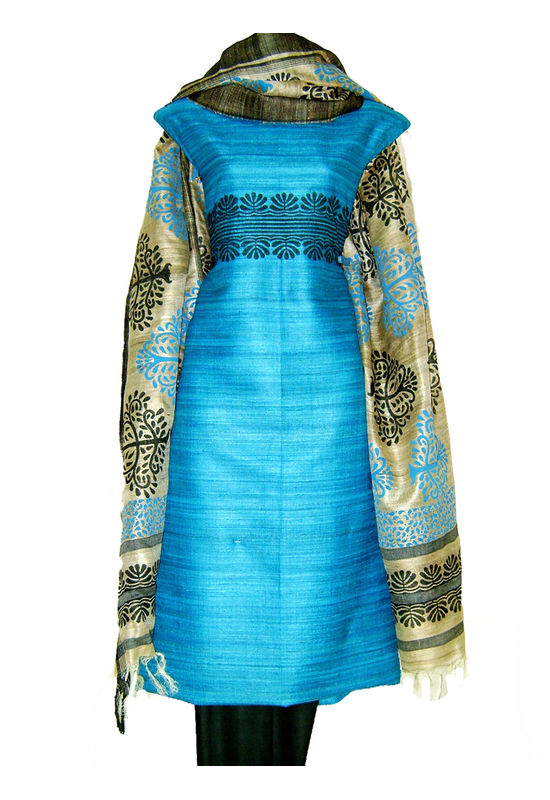 Printed Tussar Silk Suit Material Blue35