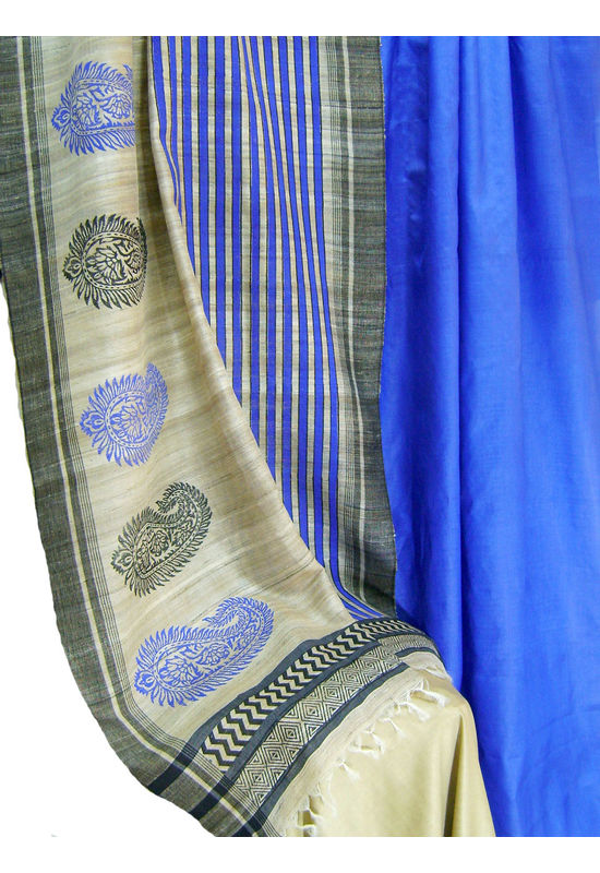 Printed Tussar Silk Suit Material Blue36