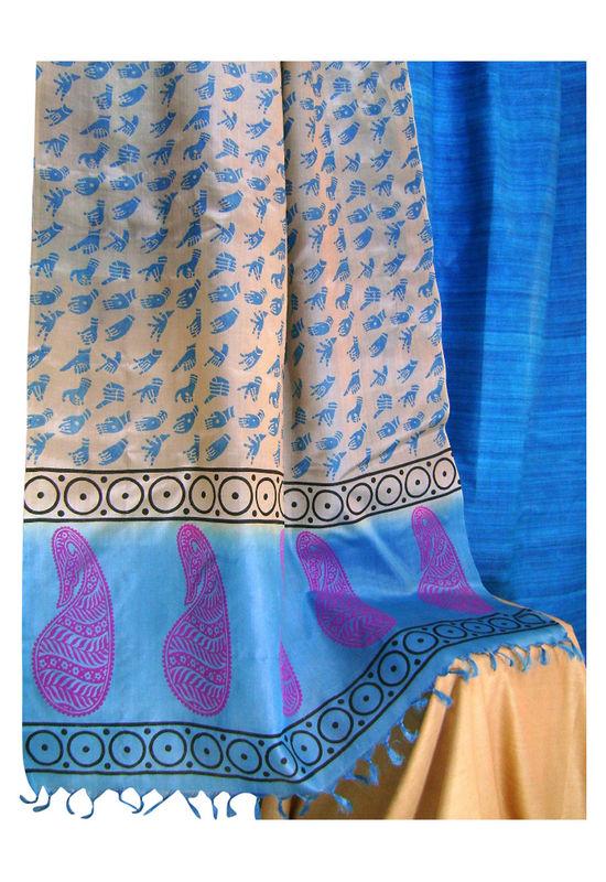 Printed Tussar Silk Suit Material Blue39